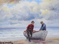 PULLING IN THE BOAT by Charles McAuley at Ross's Auctions