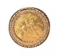 9CT GOLD MOUNTED HALF-SOVEREIGN RING at Ross's Jewellery Auctions