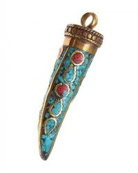 TIBETAN BRASS CORAL AND TURQUOISE PENDANT at Ross's Jewellery Auctions