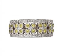 18CT WHITE GOLD DRESS RING SET WITH FANCY YELLOW AND COLOURLESS DIAMONDS at Ross's Jewellery Auctions
