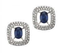 18CT WHITE GOLD SAPPHIRE AND DIAMOND CLUSTER EARRINGS at Ross's Jewellery Auctions