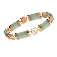9CT GOLD JADE BRACELET at Ross's Jewellery Auctions
