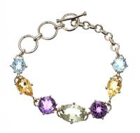 STERLING SILVER BRACELET SET WITH AN ARRAY OF GEMSTONES at Ross's Jewellery Auctions