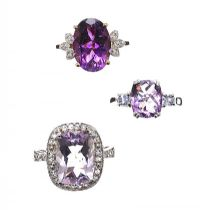 THREE AMETHYST RINGS at Ross's Jewellery Auctions