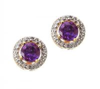 GOLD-PLATED STERLING SILVER AMETHYST AND TOPAZ CLUSTER EARRINGS at Ross's Jewellery Auctions