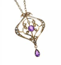 EDWARDIAN 9CT GOLD AMETHYST NECKLACE at Ross's Jewellery Auctions