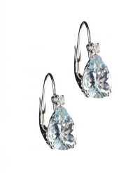 18CT WHITE GOLD AQUAMARINE AND DIAMOND EARRINGS at Ross's Jewellery Auctions