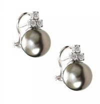 18CT WHITE GOLD TAHITIAN PEARL AND DIAMOND EARRINGS at Ross's Jewellery Auctions