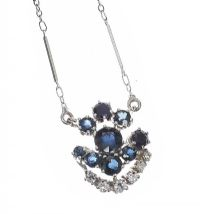 18CT WHITE GOLD SAPPHIRE AND DIAMOND NECKLACE at Ross's Jewellery Auctions
