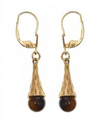 9CT GOLD TIGER'S EYE DROP EARRINGS at Ross's Jewellery Auctions
