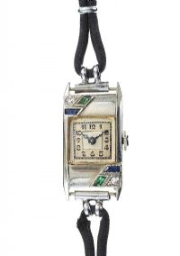 18CT WHITE GOLD SAPPHIRE AND EMERALD LADY'S WRIST WATCH at Ross's Jewellery Auctions