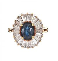 9CT GOLD SAPPHIRE AND DIAMOND CLUSTER RING at Ross's Jewellery Auctions