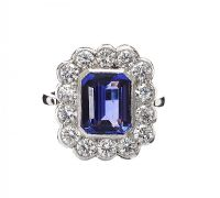 PLATINUM TANZANITE AND DIAMOND CLUSTER RING at Ross's Jewellery Auctions