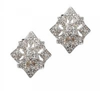 9CT WHITE GOLD DIAMOND CLUSTER EARRINGS at Ross's Jewellery Auctions