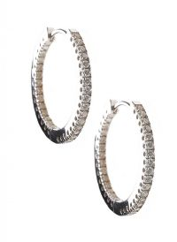 9CT WHITE GOLD DIAMOND HOOP EARRINGS at Ross's Jewellery Auctions
