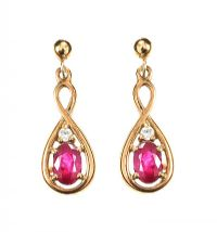 9CT GOLD RUBY AND DIAMOND EARRINGS at Ross's Jewellery Auctions