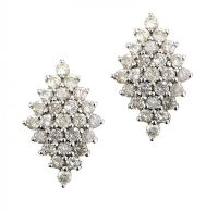 9CT GOLD DIAMOND CLUSTER EARRINGS at Ross's Jewellery Auctions