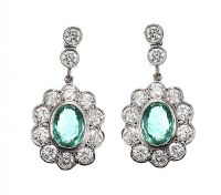 18CT WHITE GOLD EMERALD AND DIAMOND CLUSTER EARRINGS at Ross's Jewellery Auctions