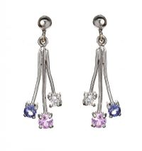 9CT WHITE GOLD PINK SAPPHIRE, DIAMOND, AND TANZANITE EARRINGS at Ross's Jewellery Auctions