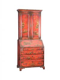 GEORGIAN JAPANNED RED LACQUERED BUREAU BOOKCASE at Ross's Auctions