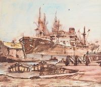 BELFAST DOCKS by Maurice Canning  Wilks ARHA RUA at Ross's Auctions