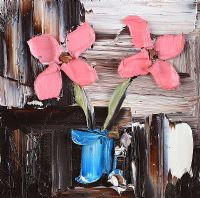 PINK FLOWERS IN A VASE by Colin Flack at Ross's Auctions