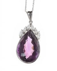 18CT WHITE GOLD AMETHYST AND DIAMOND NECKLACE at Ross's Jewellery Auctions