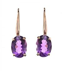18CT ROSE GOLD EARRINGS SET WITH AMETHYST at Ross's Auctions