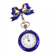 SILVER AND ENAMEL FOB WATCH WITH BROOCH at Ross's Jewellery Auctions