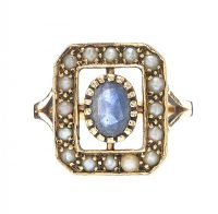 9CT GOLD BLUE STONE AND SEED PEARL RING at Ross's Auctions