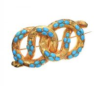ANTIQUE MID-CARAT GOLD TURQUOISE BROOCH at Ross's Auctions