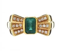 18CT GOLD EMERALD AND DIAMOND RING at Ross's Auctions