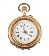 18CT GOLD LADY'S FOB WATCH WITH ENAMEL at Ross's Jewellery Auctions