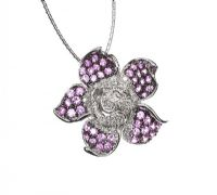 14CT WHITE GOLD PINK SAPPHIRE AND DIAMOND PENDANT ON 18CT WHITE GOLD CHAIN at Ross's Jewellery Auctions