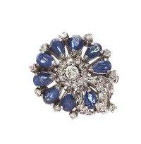 18CT WHITE GOLD SAPPHIRE AND DIAMOND DRESS RING at Ross's Jewellery Auctions