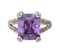 RHODIUM-PLATED STERLING SILVER RING SET WITH AMETHYST AND CUBIC ZIRCONIA at Ross's Jewellery Auctions
