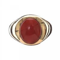 14CT GOLD CABOCHON CORAL RING at Ross's Jewellery Auctions