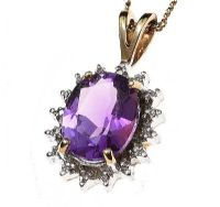 9CT GOLD AMETHYST AND DIAMOND NECKLACE at Ross's Jewellery Auctions