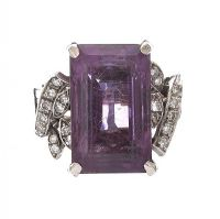 18CT WHITE GOLD DIAMOND AND AMETHYST RING at Ross's Jewellery Auctions