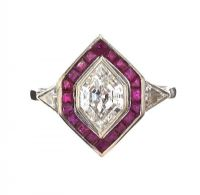 WHITE METAL RUBY AND DIAMOND TARGET RING at Ross's Jewellery Auctions
