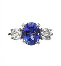 PLATINUM TANZANITE AND DIAMOND RING at Ross's Jewellery Auctions