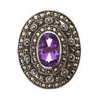 STERLING SILVER MARCASITE AND AMETHYST RING at Ross's Jewellery Auctions