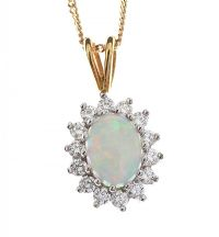 18CT GOLD OPAL AND DIAMOND CLUSTER NECKLACE at Ross's Jewellery Auctions