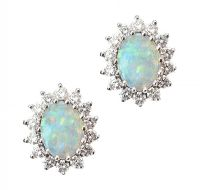18CT GOLD OPAL AND DIAMOND EARRINGS at Ross's Jewellery Auctions