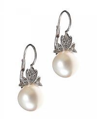18CT WHITE GOLD CULTURED PEARL AND DIAMOND EARRINGS at Ross's Auctions