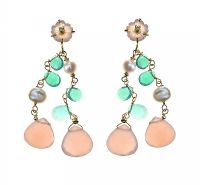 18CT GOLD MULTI-GEM DROP EARRINGS at Ross's Jewellery Auctions