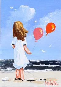 YOUNG GIRL WITH BALLOONS by Michelle Carlin at Ross's Auctions