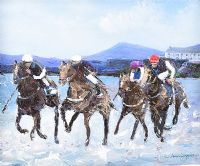 HORSES RACING ON DOWNINGS BEACH, DONEGAL by Sean Lorinyenko at Ross's Auctions