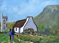 COTTAGE AT DRUMCLIFF, SLIGO by Eileen Gallagher at Ross's Auctions