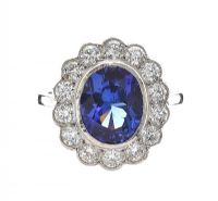 PLATINUM DIAMOND AND TANZANITE RING at Ross's Jewellery Auctions